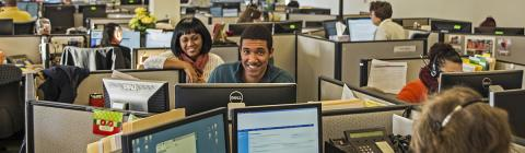 happy employees in call center